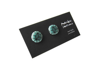 Earrings - peacock green/black
